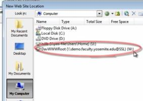 Photo showing the location of the WebDAV drive in the Select Location screen.